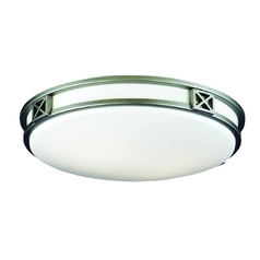 Modern Flushmount Light with White Glass in Glacier Silver Finish