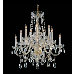 Crystal Chandelier in Polished Brass Finish
