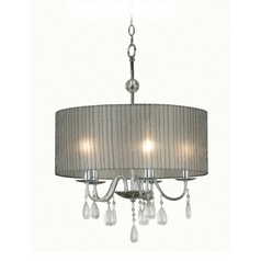 Modern Drum Pendant Light with Grey Shade in Chrome Finish