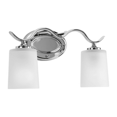 Bathroom Light with White Glass in Polished Chrome Finish