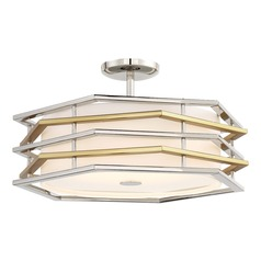 George Kovacs Levels Polished Nickel W/honey Gold LED Semi-Flushmount Light