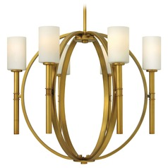 Chandelier with White Glass in Vintage Brass Finish