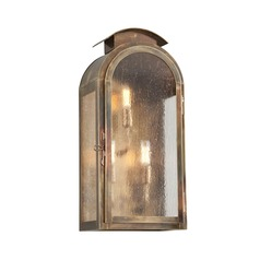 Frosted Seeded Glass Outdoor Wall Light Brass Troy Lighting