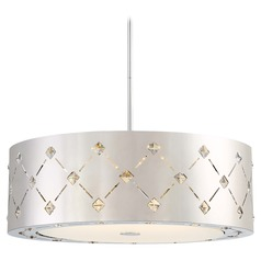 George Kovacs Crowned Chrome LED Pendant Light with Drum Shade