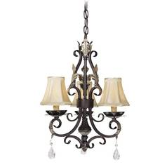 Mini-Chandelier with Silver Shades in Castlewood Walnut W/silver Highlights Finish