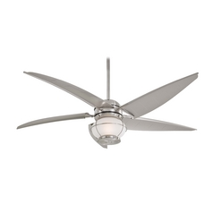 Minka Aire Fans Ceiling Fan with Light with White Glass in Brushed Nickel Wet Finish F579-L-BNW