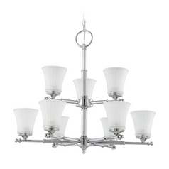 Modern Chandelier with White Glass in Polished Chrome Finish