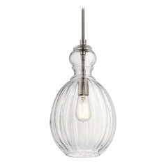 Kichler Lighting Riviera Brushed Nickel Mini-Pendant Light with Bowl / Dome Shade