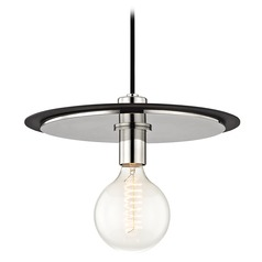Mid-Century Modern Pendant Light Polished Nickel / Black Mitzi Milo by Hudson Valley