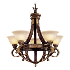 Chandelier with Alabaster Glass in Aged Walnut / Gold Leaf Finish