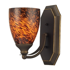 Sconce with Art Glass in Aged Bronze Finish