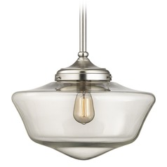 16-Inch Satin Nickel Clear Glass Schoolhouse Pendant Light