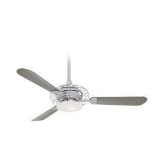 52-Inch Modern Ceiling Fan with Light with White Glass in Polished Nickel Finish
