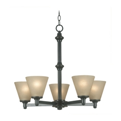 Chandelier with Amber Glass in Bronze Patina Finish
