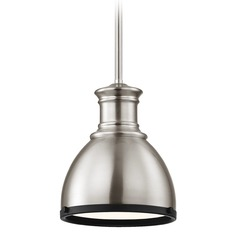 Industrial Metal Pendant Light Satin Nickel and Black 7.38-Inch Wide