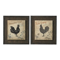 Fisher-Rooster Prints On Wood Set In Wire Mesh Matting