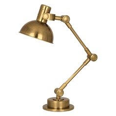 Robert Abbey Rico Espinet Scout Antique Brass Table Lamp with Bowl / Dome Shade