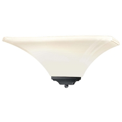 Sconce Wall Light with White Glass in Black Finish