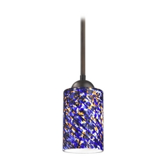 Design Classics Lighting Modern Mini-Pendant Light with Blue Glass 581-220 GL1009C
