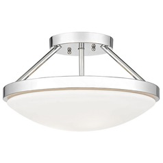 Chrome Semi-Flushmount Ceiling Light with Satin White Glass