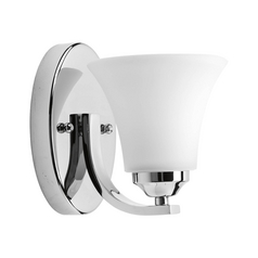 Progress Lighting Modern Sconce Wall Light with White Glass in Polished Chrome Finish P2008-15