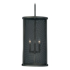 Wicker Park Warm Pewter Pendant Light with Cylindrical Shade by Vaxcel Lighting