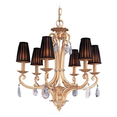 Crystal Chandelier with Black Shades in Antique Gold Plated Finish
