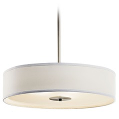Kichler Pendant Light with White Drum Shade in Brushed Nickel