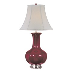 Lite Source Belicia Burgundy and Polished Steel Table Lamp with Bell Shade