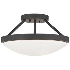 Bronze Semi-Flushmount Ceiling Light with Satin White Glass
