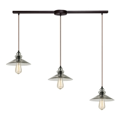 Multi-Light Pendant Light with Grey Glass and 3-Lights