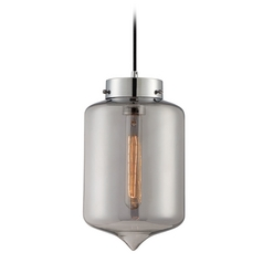 Lite Source Lighting Zelia Chrome Mini-Pendant Light with Cylindrical Shade