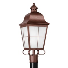 Frosted Seeded Glass Post Light Copper Sea Gull Lighting