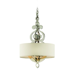 Drum Pendant Light with White Shades in Polished Nickel Finish