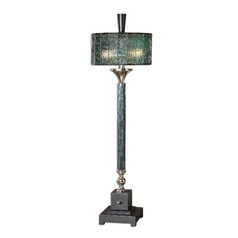 Table Lamp with Green Glass in Polished Chrome Finish