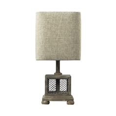 Table Lamp with Grey Shade in Montauk Grey Finish