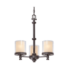 Modern Mini-Chandelier with Beige / Cream Glass in Sudbury Bronze Finish
