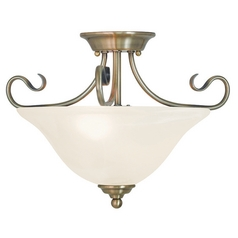 Livex Lighting Coronado Antique Brass Semi-Flushmount Light