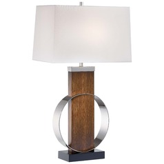 Minka Did-Dye Brushed Painting & Polished Nickel Table Lamp with Rectangle Shade