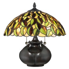 Quoizel Lighting Tiffany Valiant Bronze Table Lamp with Bowl / Dome Shade