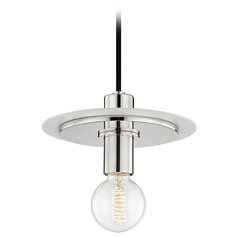 Mid-Century Modern Mini-Pendant Light Polished Nickel / White Mitzi Milo by Hudson Valley