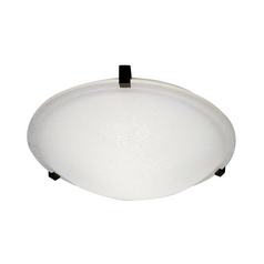 Modern Flushmount Light with White Glass in Rust Finish