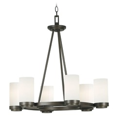 Modern Chandelier with White Glass in Satin Bronze Finish