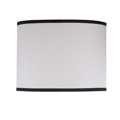 White Linen Drum Lamp Shade with Black Piping