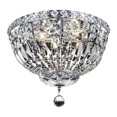 Transitional Crystal Ceiling Flushmount Light - 14-Inches Wide