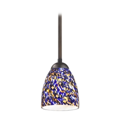Design Classics Lighting Modern Mini-Pendant Light with Blue Glass 581-220 GL1009MB