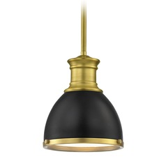 Industrial Black / Brass Small Pendant Light 7.38-Inch Wide