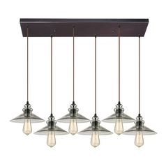 Multi-Light Pendant Light with Grey Glass and 6-Lights
