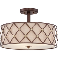 Quoizel Brown Lattice Copper Canyon Semi-Flushmount Light