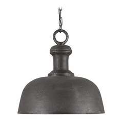 Farmhouse Pendant Light Antique Charcoal Timpano by Currey and Company Lighting